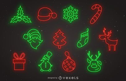 Conjunto de ícones de Natal de néon