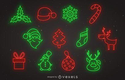 Conjunto de iconos de Navidad de neón
