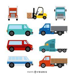 Conjunto de ilustração de transporte plana
