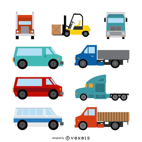 Conjunto de ilustración de transporte plano