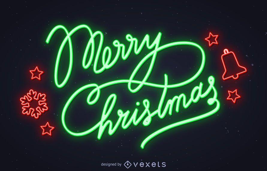 Neon Frohe Weihnachten Zeichen