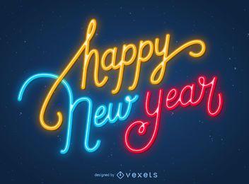 Feliz ano novo, néon, sinal