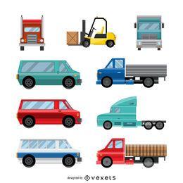 Colección de ilustraciones de transporte plano
