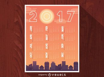 Calendario 2017 siluetas de paisaje urbano