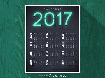 2017 calendário de néon brilhante