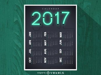 Calendario de neón brillante 2017
