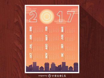 Paisagem urbana do calendário 2017 em espanhol