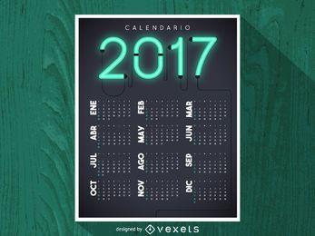 2017 calendário de néon em espanhol