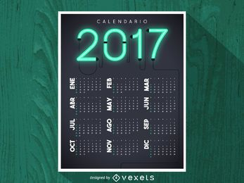 2017 neon calendar in Spanish