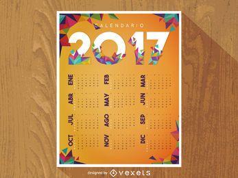 2017 calendário poligonal em espanhol