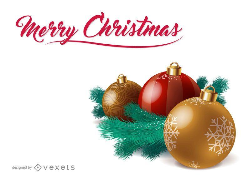 Diseño 3D bolas de adorno de Navidad - Descargar vector