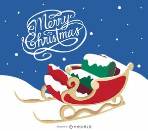 Merry Christmas card with sleigh on the snow