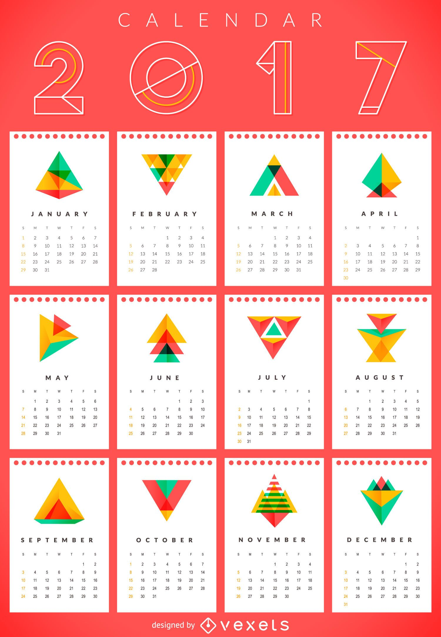 Calendario geométrico 2017