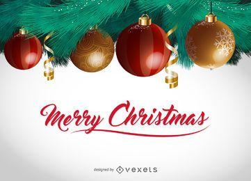 Poster de Natal de bolas de enfeite 3D