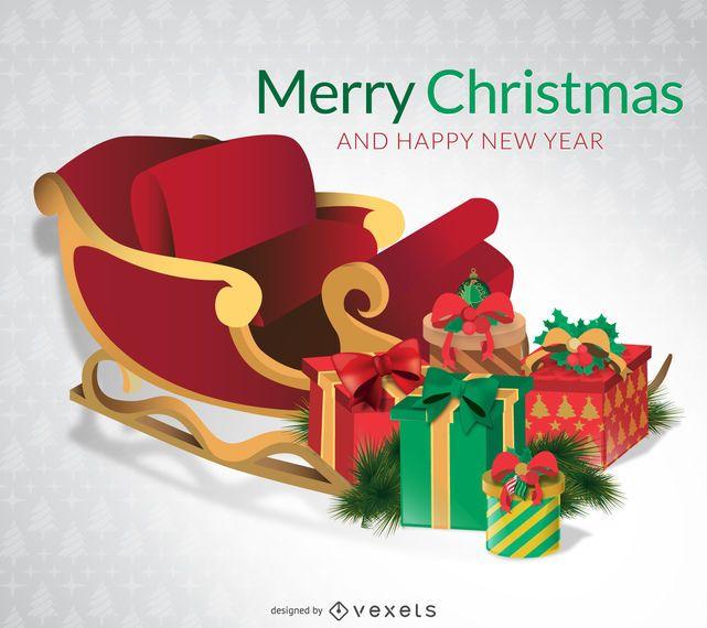 Tarjeta de feliz navidad con trineo.