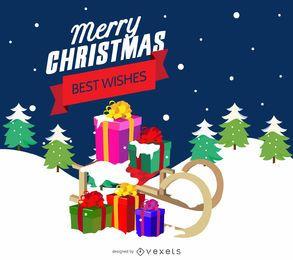 Tarjeta navideña con trineo y regalos.