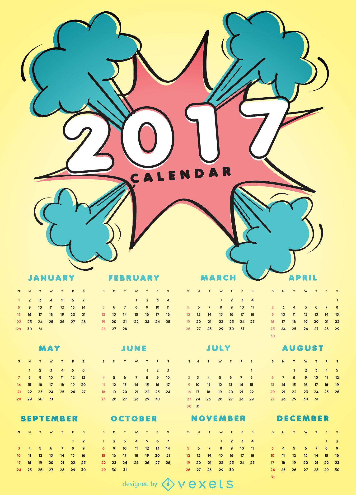 2017 comic style calendar