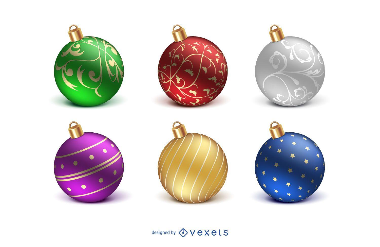 Realistic isolated Christmas ball set