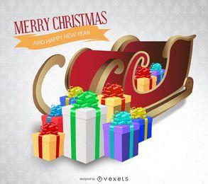 Christmas card with 3D sleigh