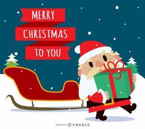 Feliz navidad santa con trineo