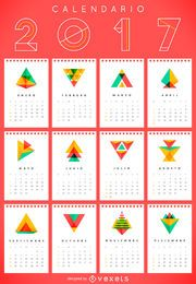 2017 geometric calendar in Spanish
