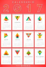 Calendário geométrico de 2017 em espanhol