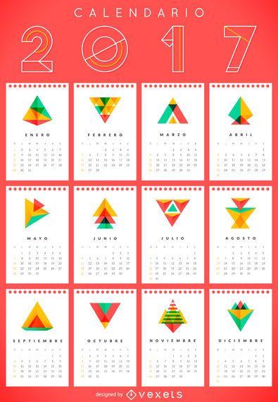 Calendario geométrico 2017 en español