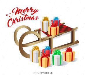 Isolated Christmas card with sleigh