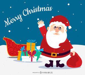 Flat Christmas Santa with sleigh