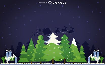 Flat winter wood background