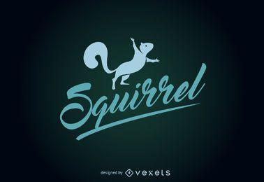 Modelo de logotipo de silhueta de esquilo engraçado