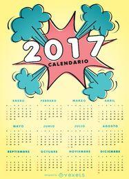 Calendário de estilo de quadrinhos 2017 em espanhol
