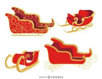 Flat Christmas sleigh set