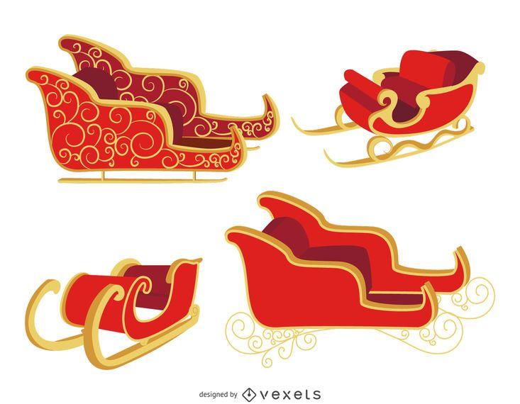 Set de trineo plano navideño