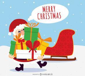 Diseño navideño de santa con regalos.