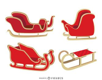 Isolated Christmas sleigh set