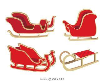Isolated Christmas sleigh set