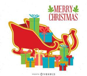 Flat Christmas card with sleigh