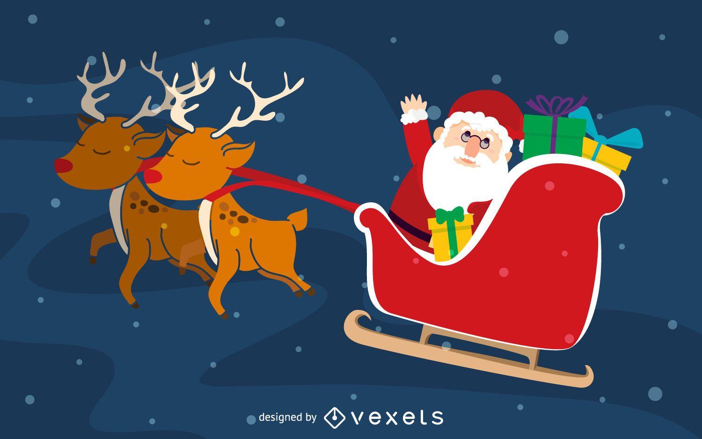 Santa en ilustración de trineo de renos