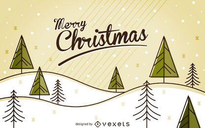 Plano de invierno de Navidad paisaje con árboles