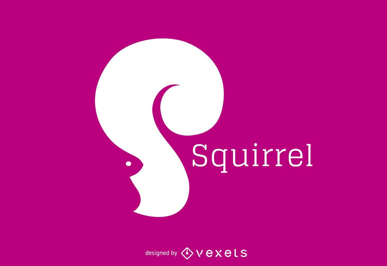 Plantilla de logotipo de silueta de ardilla
