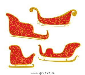 Ilustración de trineo con remolinos.