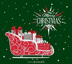 Weihnachtskarte mit Schlitten und Etikett