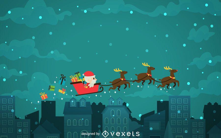 Christmas background with Santa sleigh