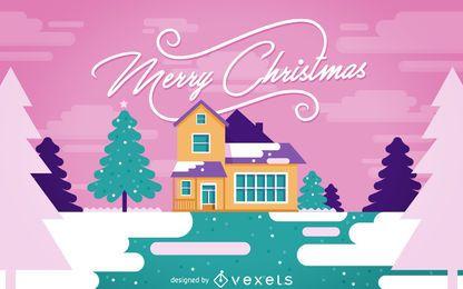 Diseño navideño con casa nevada.