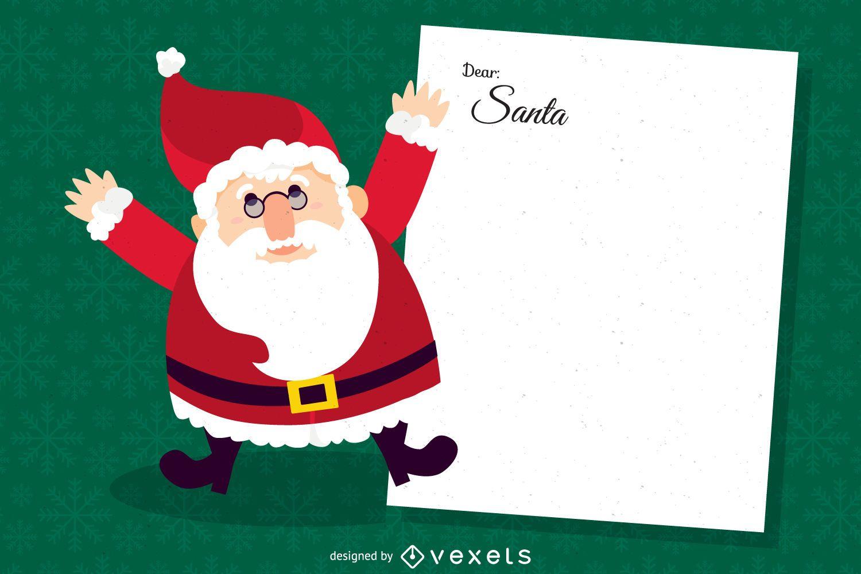 Querida ilustración de carta de Santa