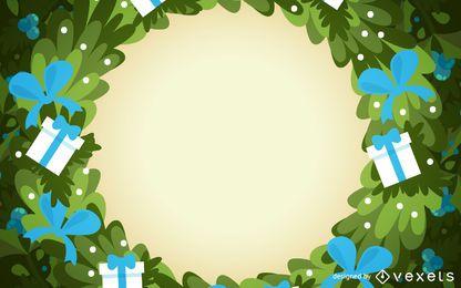 Christmas wreath frame background