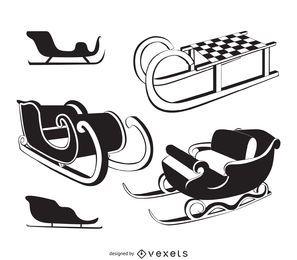 Black and white sleigh illustrations