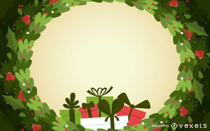 telón de fondo del marco corona de Navidad