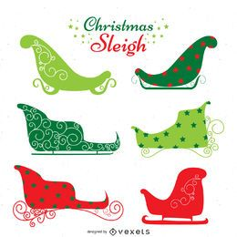 Colorful sleigh silhouette set